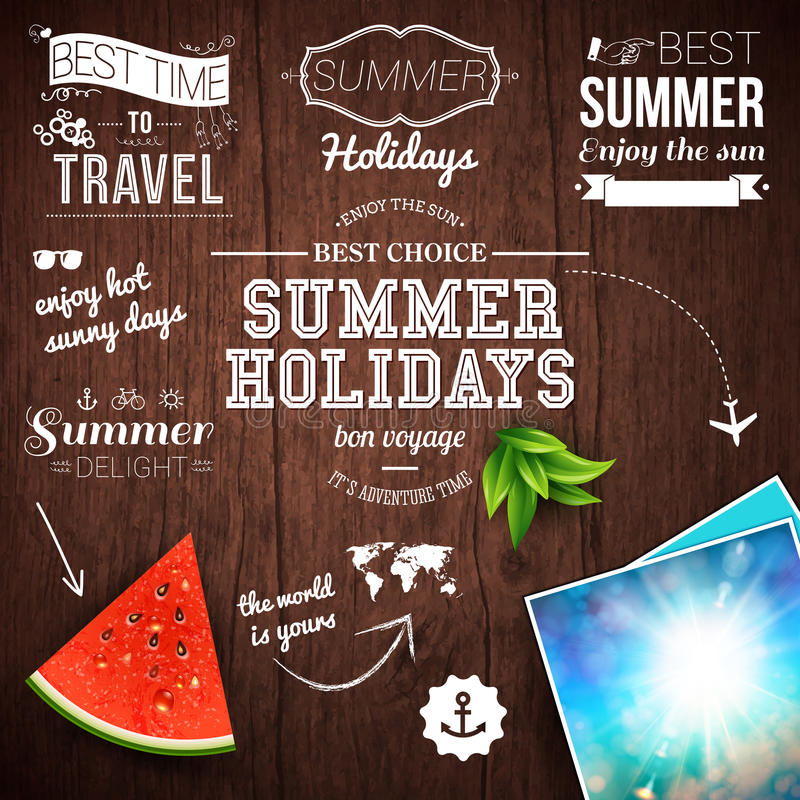 Lato projekt Plakat dla wakacji letnich Drewniany tło i ilustracji