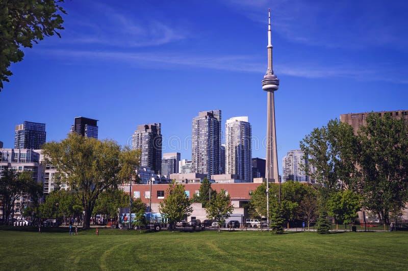 Lato przychodził Toronto miasto Lato widok na w centrum Toronto z CN wierza od Martin dobrego człowieka śladu zdjęcia royalty free
