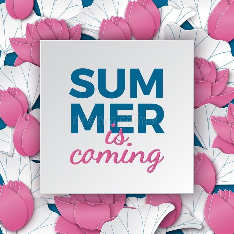 Lato przychodzi kartę, papier ramę na kwiecistym tle, papierów różowych lotosowych kwiaty na błękitnym tle dla plakata lub sztand royalty ilustracja