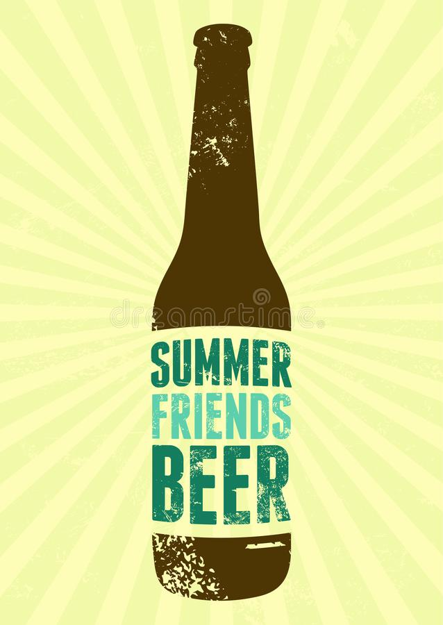 Lato, przyjaciele, piwo Typograficzny rocznika grunge piwa plakat retro ilustracyjny wektora ilustracji