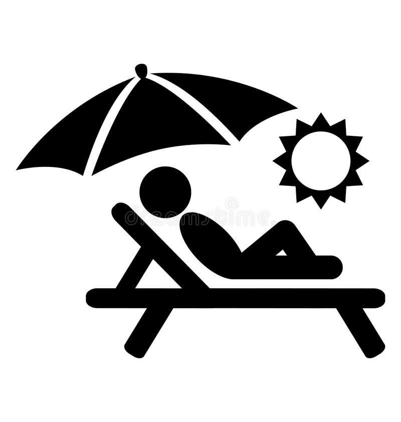 Lato relaksuje sunbathing piktogram ikon odizolowywać dalej płaskich ludzi royalty ilustracja