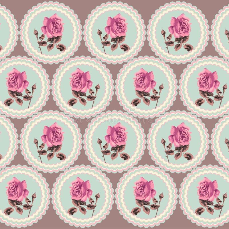 Lato retro kwiecisty bezszwowy wzór w stylowym podławym szyku, Provence, boho (róże) ilustracji
