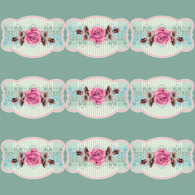 Lato retro kwiecisty wzór w stylowym podławym szyku, Provence, boho (róże) royalty ilustracja