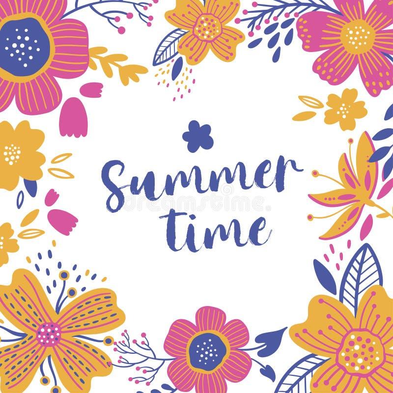 Lato rocznika kartki z pozdrowieniami Kwiecista rama z kwitnienie ogródem kwitnie dalej, wiosna kwiatu botaniczna prosta wektorow ilustracji