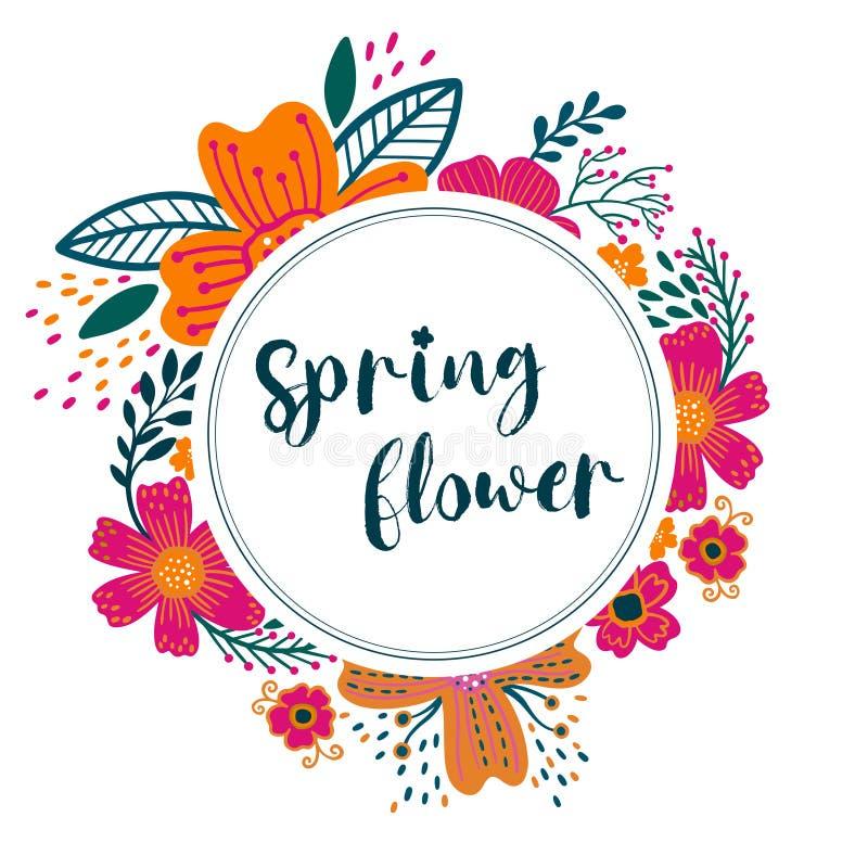 Lato rocznika kartki z pozdrowieniami Kwiecisty wianek z kwitnienie ogródem kwitnie dalej, wiosna kwiatu botaniczna prosta wektor ilustracja wektor