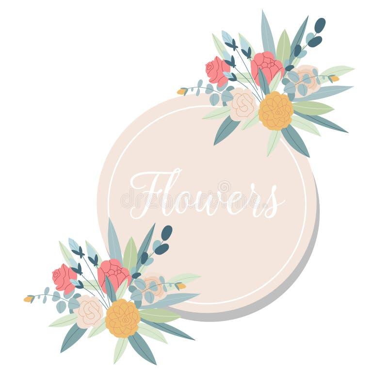 Lato rocznika Kwiecista kartka z pozdrowieniami z kwitnienie ogródem kwitnie Projekta sztandar z wiosn? jest tutaj logem ilustracja wektor