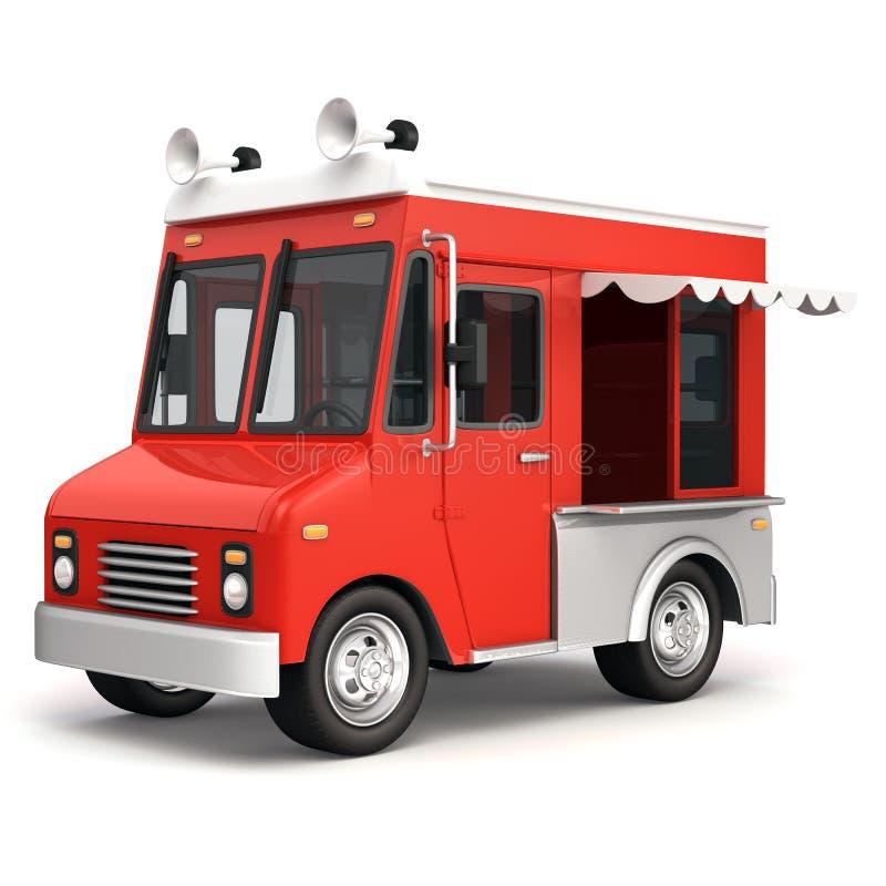 Lato rosso del camion dell'alimento illustrazione vettoriale