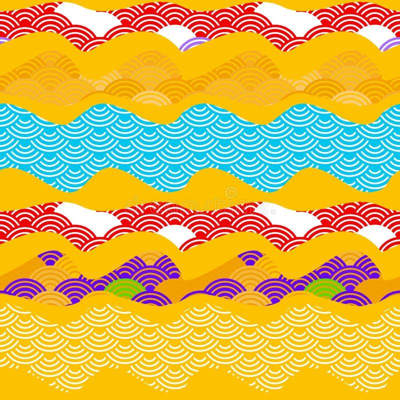 Lato rybich skal natury jaskrawy pogodny bezszwowy deseniowy prosty tło z chińczyk fali okręgu wzoru błękitnej czerwieni fiołkowy ilustracji