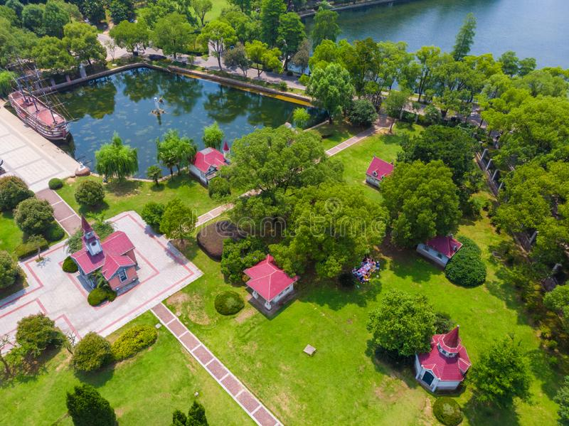 Lato sceneria Wuhan Wschodni Jeziorny Sceniczny punkt fotografia royalty free
