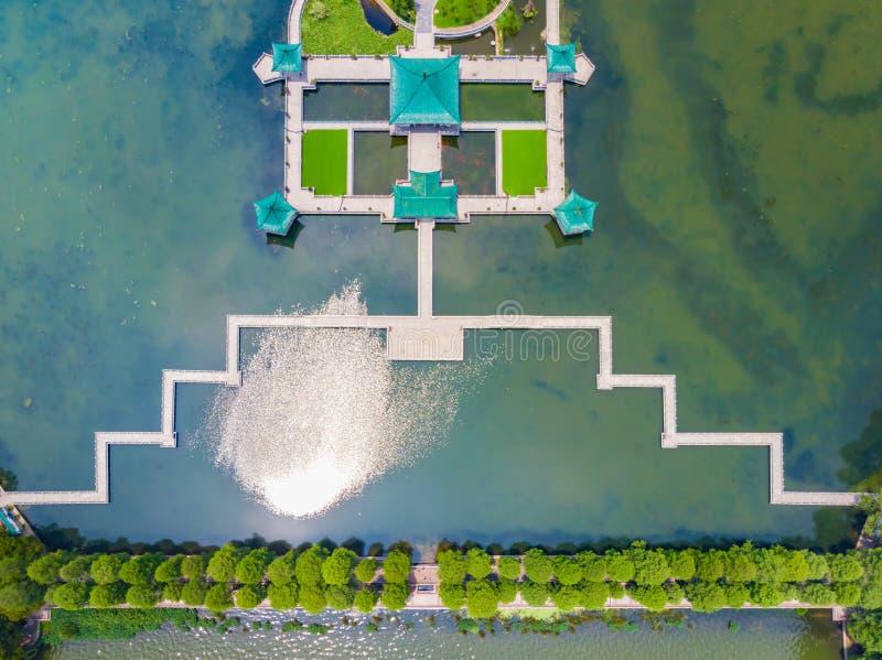 Lato sceneria Wuhan Wschodni Jeziorny Sceniczny punkt zdjęcia royalty free