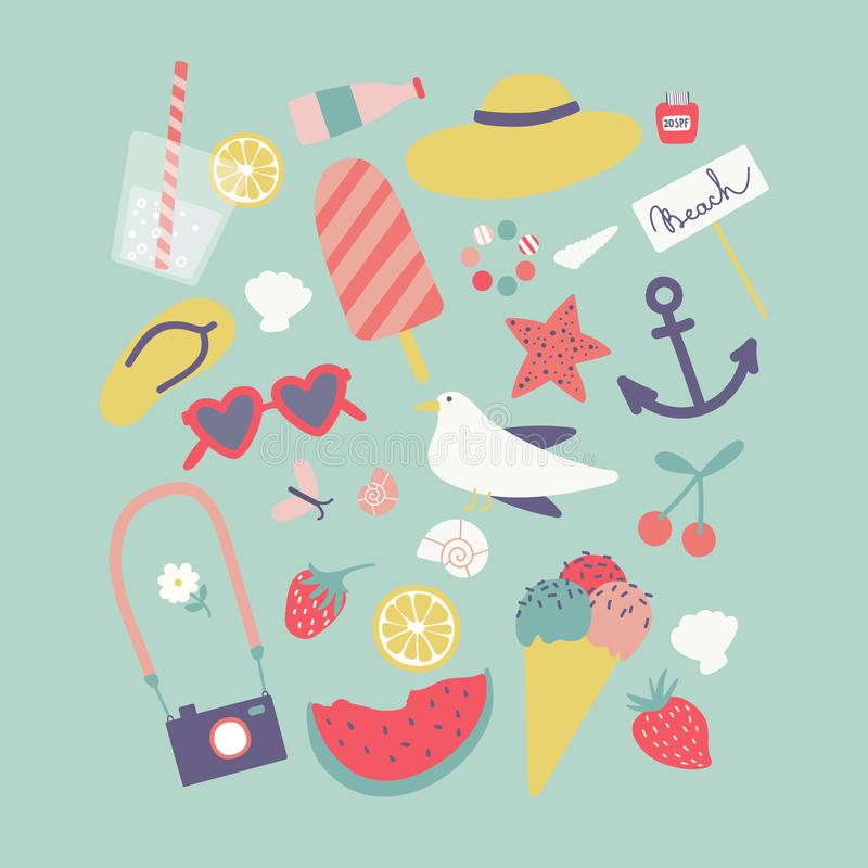 Lato set Wektor plażowa kolekcja obrazy royalty free