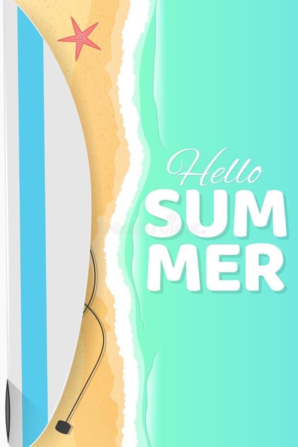 Lato sezonowy plakat Cześć lato Surfboard na seashore Piasek plaża Kreskówki mieszkania styl target842_1_ sezon czerwona rozgwiaz ilustracji