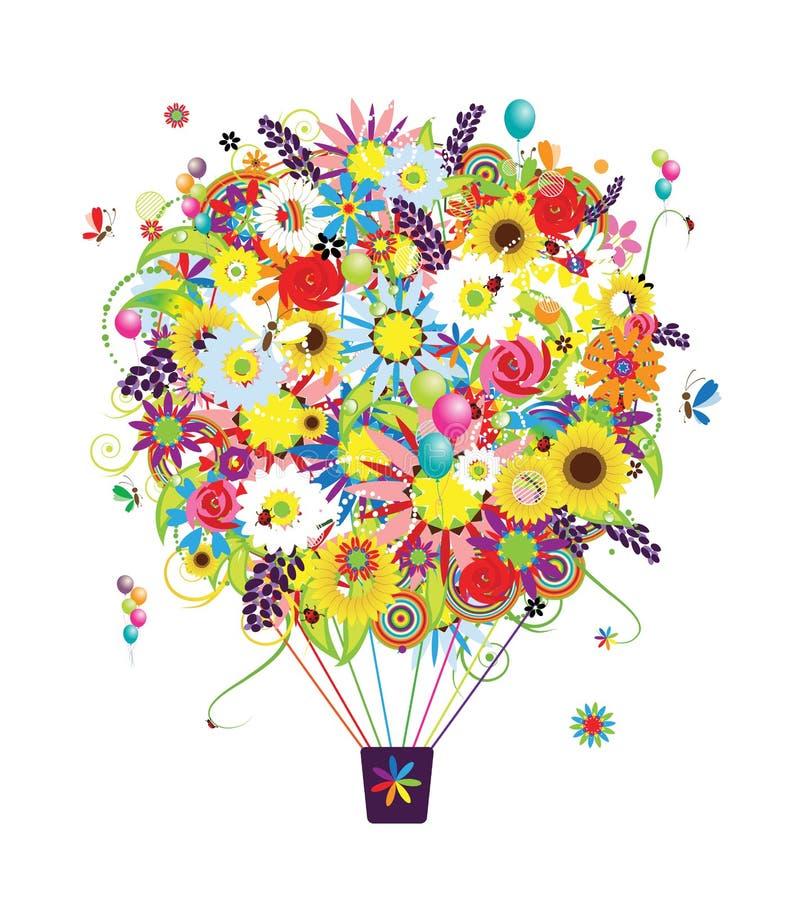 Lato sezonu pojęcie, lotniczy balon z kwiatami ilustracja wektor