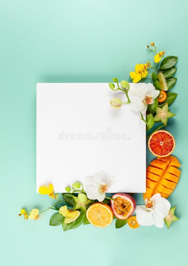 Lato sk?ad z owoc i kwiatami na b??kitnym tle obraz stock