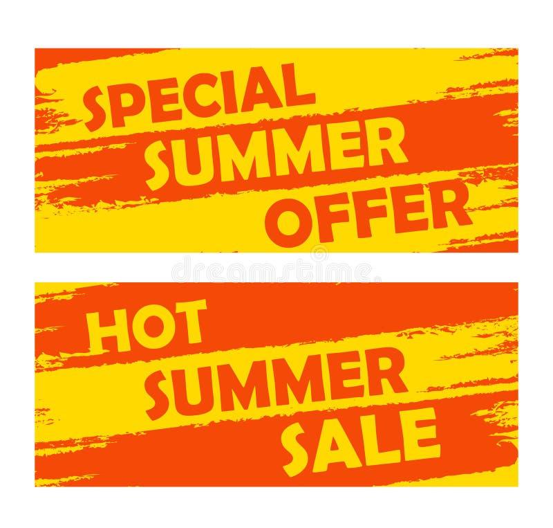 Lato specjalna oferta i gorąca sprzedaż, rysujący sztandary ilustracja wektor