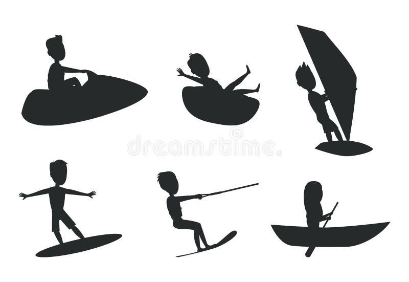Lato sporta sylwetek wektoru Ustalona ilustracja royalty ilustracja