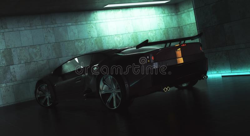 Lato sportscar nero alla moda illustrazione di stock