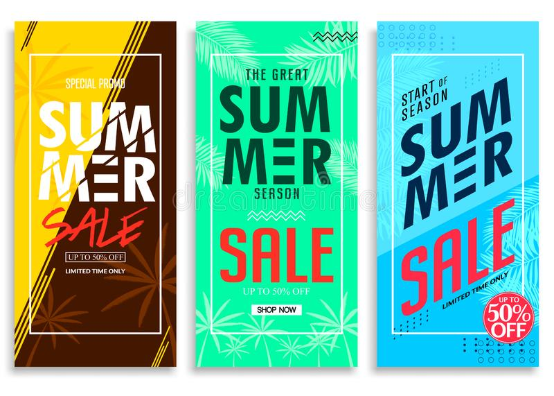 Lato sprzedaż Do 50% Z Kolorowego Jaskrawego Żywego koloru tła, Świeży Elegancki Dekoracyjny Wzorzysty Pionowo ciągnienie W górę  ilustracji