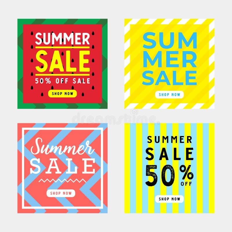 Lato sprzedaży kwadrata sztandaru projekta ustalony szablon ilustracja wektor