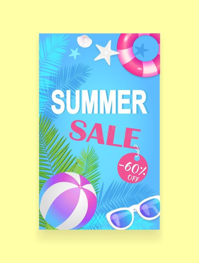 Lato sprzedaży Wektorowego sztandaru ulotki Promocyjna próbka royalty ilustracja