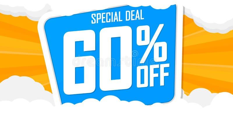 Lato sprzedaż 60% daleko, oferta specjalna, plakatowy projekta szablon, dyskontowy sztandar, wektorowa ilustracja ilustracja wektor