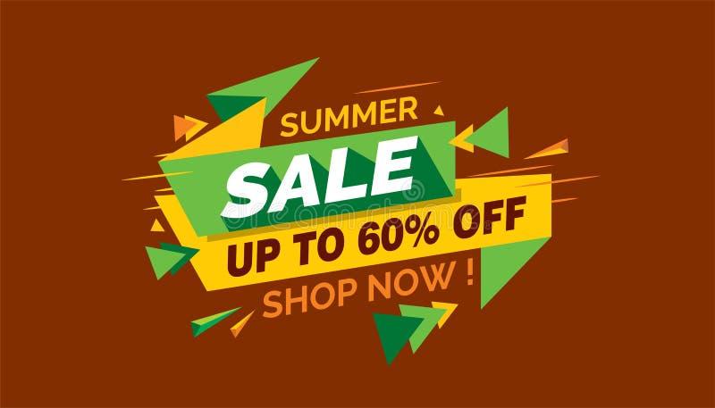 Lato sprzedaż, Kolorowa sprzedaż sztandaru etykietka, Promo sprzedaży karta royalty ilustracja