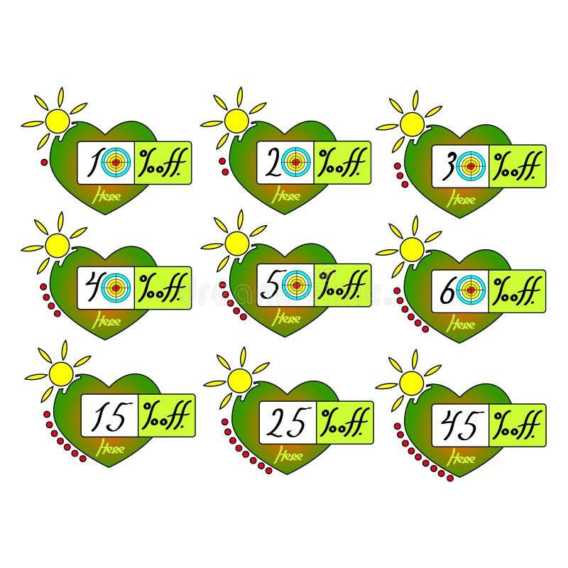 Lato sprzedaż oznacza ustalonego wektorowego odznaka szablon, 10 daleko, 20, 30, 40, 15, 25, 45 procentów sprzedaży etykietki sym royalty ilustracja