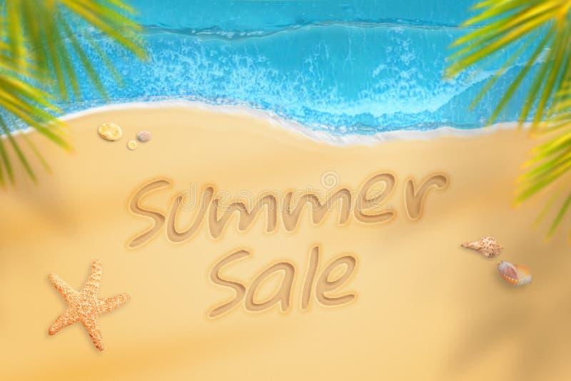 Lato sprzedaż pisać na plaży Lato czasu podróż i relaksuje ilustracji