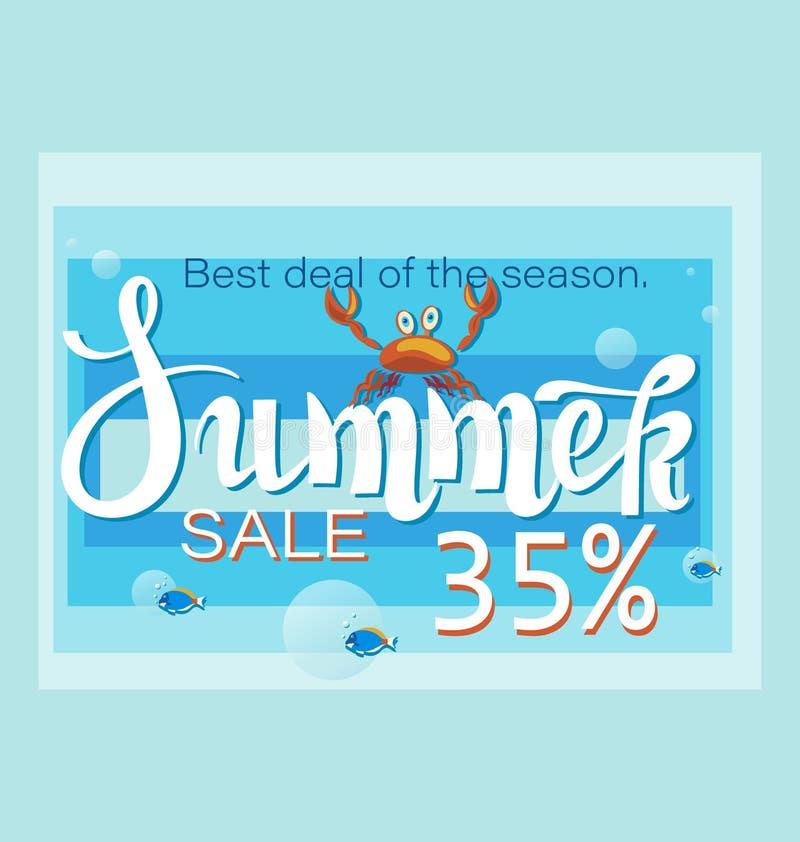 LATO sprzedaż z krabem i tropikalną rybą Najlepszy transakcja sezon Du?a sprzeda? i specjalna oferta ilustracji