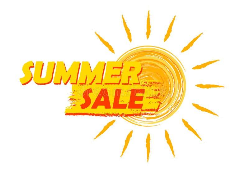 Lato sprzedaż z słońce znakiem, kolorem żółtym i pomarańcze rysującą etykietką, royalty ilustracja