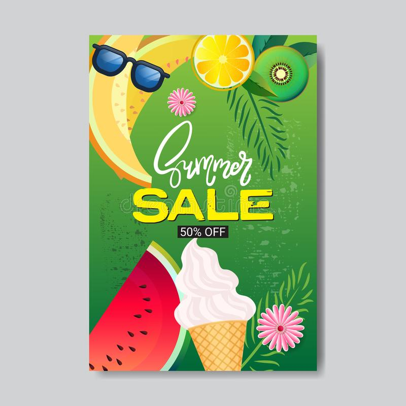 Lato sprzedaży świeże owoc pisze list odznakę projektować etykietka sezonu zakupy dla logów szablonów zaproszenia kartka z pozdro ilustracji