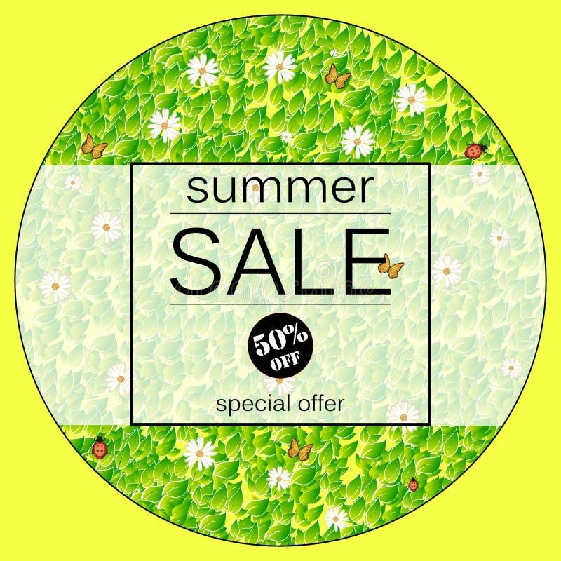 Lato sprzedaży Żółty wektorowy sztandar z świeżymi zielonymi liśćmi, chamomile, butterflyand ilustracji