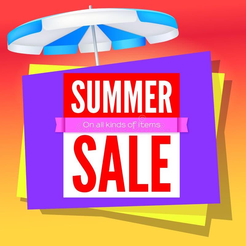 Lato sprzedaży handlowy plakat na gorącym tle z słońce parasolem Reklama plakat dla sklepów z super sprzedażą na wszystkie rodzaj ilustracji