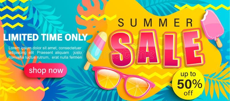 Lato sprzedaży jaskrawy plakat ilustracji