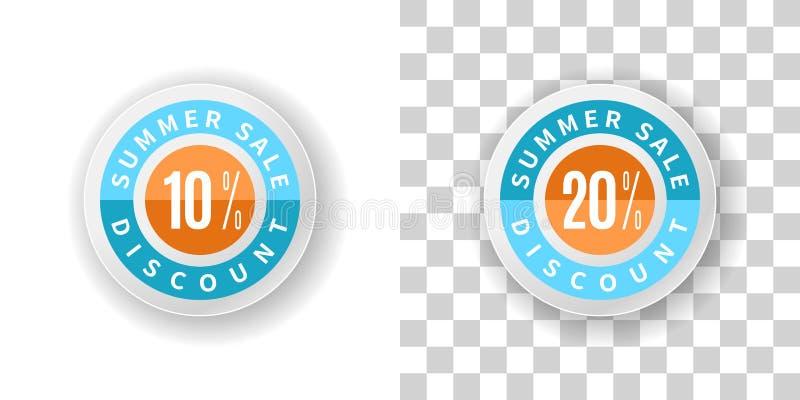 Lato sprzedaży majcher 10 i 20 procentów rabat z ilustracja wektor