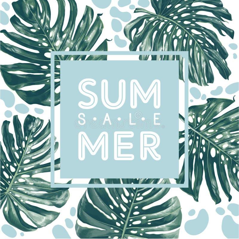 Lato sprzedaży plakat z monstera deliciosa w realistycznym stylu z wysokość szczegółami i nowożytnymi płaskimi elementami ilustracja wektor
