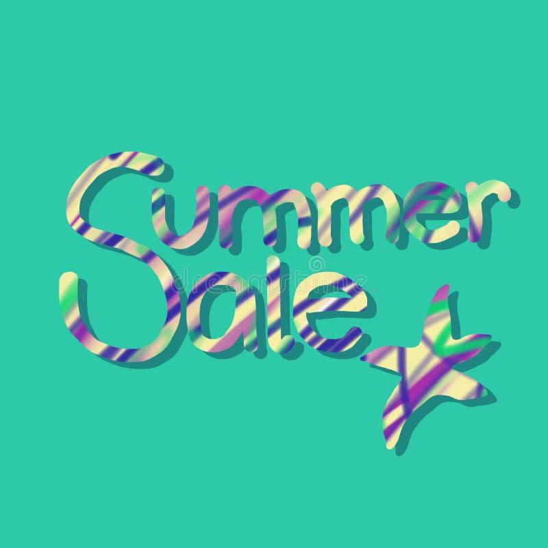 Lato sprzedaży pocztówka z literowaniem i rozgwiazda na zielonym tle ilustracja wektor