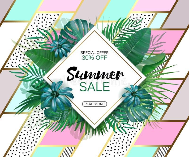 Lato sprzedaży pojęcie Lata tło z tropikalnymi kwiatami Szablonu wektor royalty ilustracja