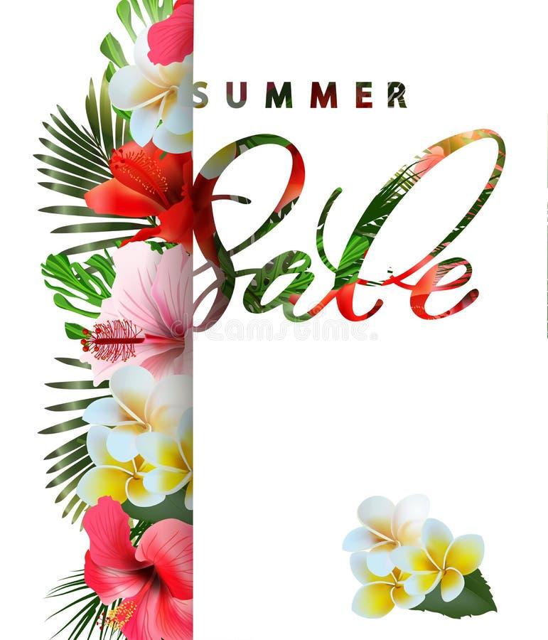 Lato sprzedaży pojęcie Lata tło z tropikalnymi kwiatami wektor ilustracja wektor
