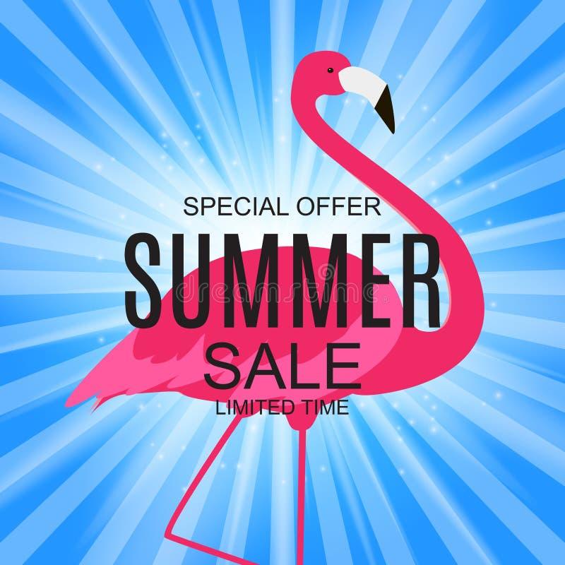 Lato sprzedaży pojęcie z Kolorowym kreskówek menchii flaminga tłem ilustracja ilustracji