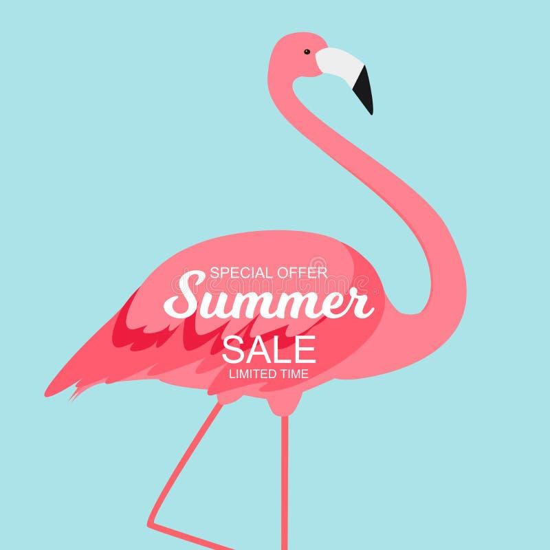Lato sprzedaży pojęcie z Kolorowym kreskówek menchii flaminga tłem ilustracja royalty ilustracja