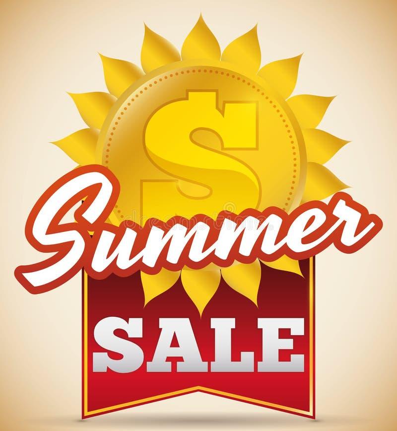 Lato sprzedaży projekt z słońcem jak Złota moneta i faborek, Wektorowa ilustracja ilustracji