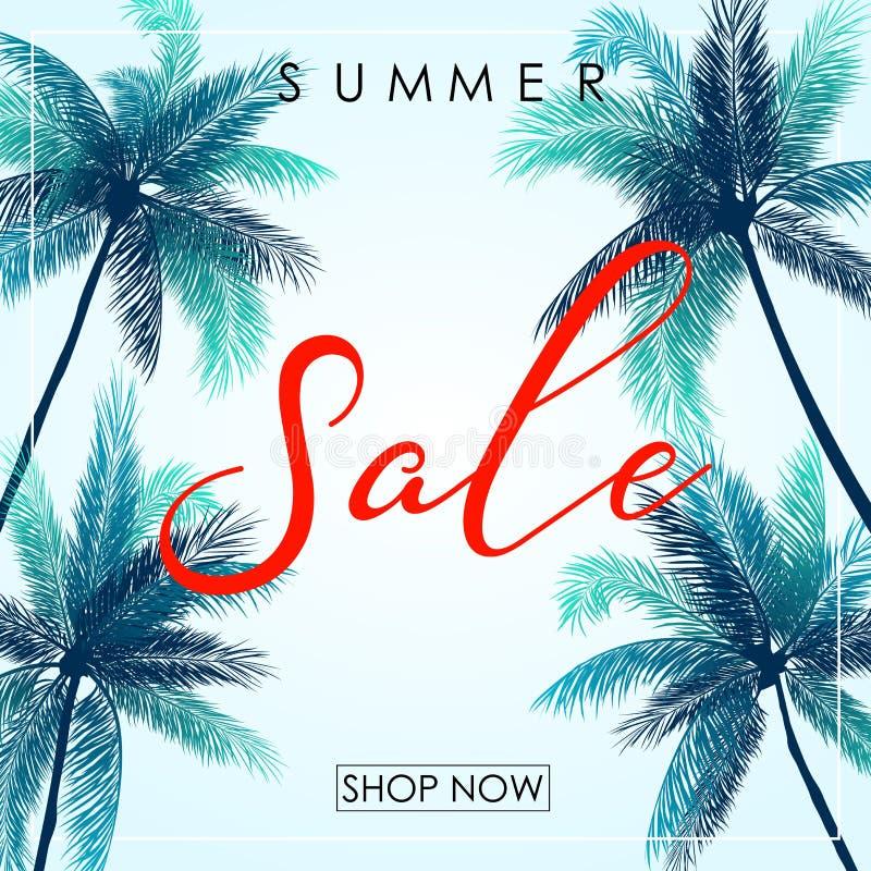 Lato sprzedaży projekta plakatowy szablon z drzewkami palmowymi ilustracji
