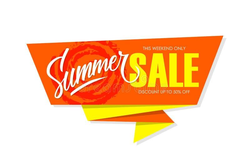 Lato sprzedaży specjalnej oferty sztandar z ręki literowaniem dla biznesu, promoci i reklamy, royalty ilustracja