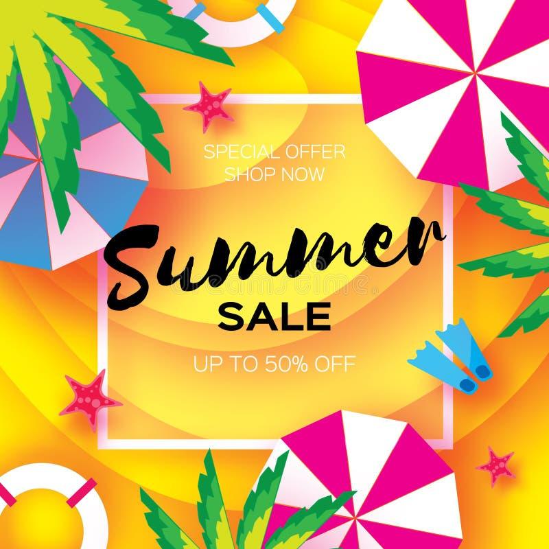 Lato sprzedaży szablonu sztandar Plażowy spoczynkowy lata vacantion Odgórny widok na kolorowych plażowych elementach Kwadratowa r ilustracja wektor