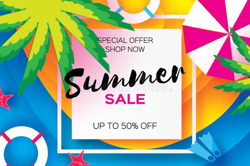Lato sprzedaży szablonu sztandar Plażowy spoczynkowy lata vacantion Odgórny widok na kolorowych plażowych elementach Kwadratowa r royalty ilustracja