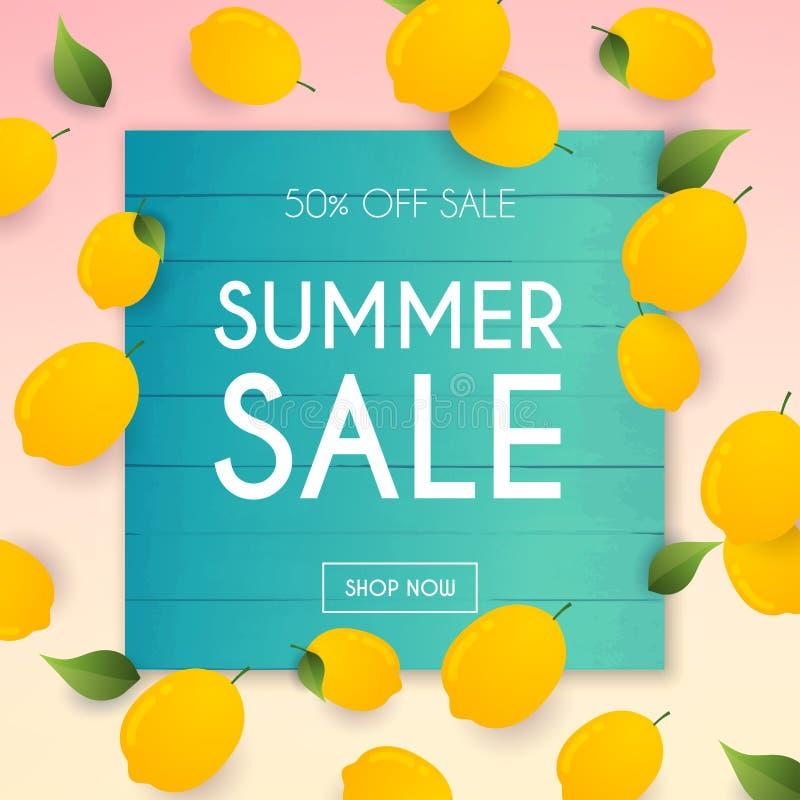 Lato sprzedaży sztandar Plakat, ulotka, wektor Cytryna na tle royalty ilustracja
