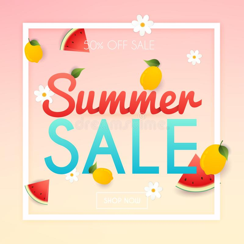 Lato sprzedaży sztandar Plakat, ulotka, wektor krojenie arbuza ilustracja wektor