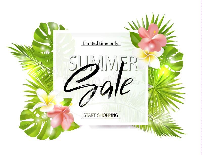Lato sprzedaży sztandar, plakat z palmowymi liśćmi, dżungla liść, tropikalni kwiaty i handwriting literowanie, wektor royalty ilustracja