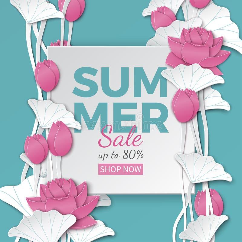 Lato sprzedaży sztandar z papieru cięcia ramą i kwitnienie różowymi lotosowymi kwiatami na błękitnym tle dla sztandaru, ulotka, z ilustracja wektor